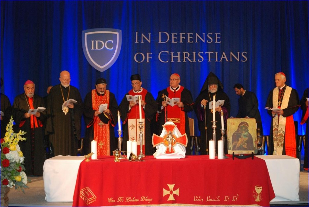 Patriarchs praying at the In Defense of Christians conference in Washington, DC.