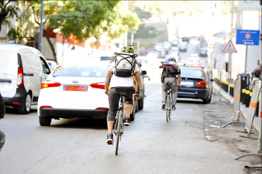 American urban cyclists Nico Deportago-Cabrera and Austin Horse navigate Beirut's roads. (Photo © Roy Mrad/Red Bull)