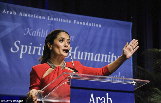 Salma Hayek receives an award during the 17th annual Kahlil Gibran Spirit of Humanity Gala at Omni Shoreham Hotel on April 29, 2015 in Washington, DC. (Photo by Kris Connor/Getty Images)