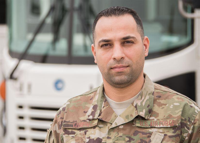Staff Sgt. Fadi Chreim, a 386th Expeditionary Logistics Readiness Squadron vehicle operations dispatch chief, poses for a photo at an undisclosed location in Southwest Asia April 11, 2017. Chreim joined the Air Force Reserve in 2012 as appreciation for the opportunities the U.S. provided him as an immigrant. (U.S. Air Force photo/Staff Sgt. Andrew Park)