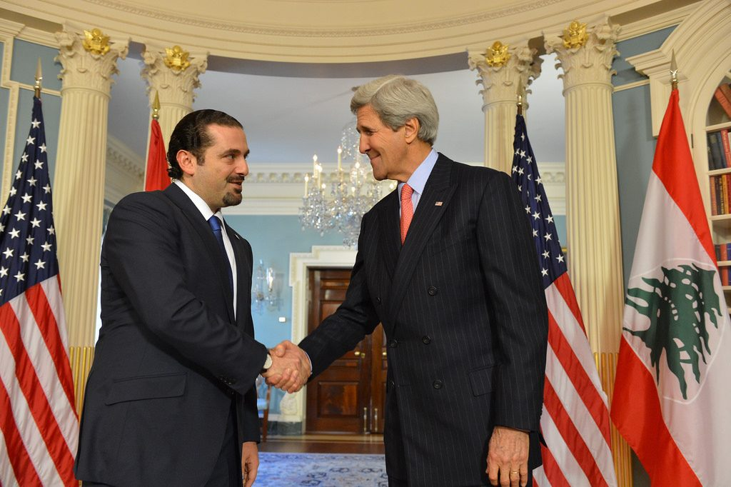 U.S. Secretary of State John Kerry delivers remarks with former Lebanese Prime Minister Saad Hariri at a meeting at the U.S. Department of State in Washington, D.C. on April 22, 2015. (State Department Photo/Public Domain)