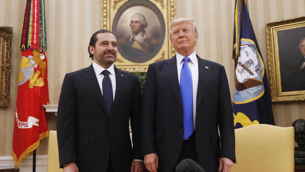 President Donald Trump, Lebanese Prime Minister Saad Hariri meet at the Oval Office in Washington, DC on July 25. (Wire photo)
