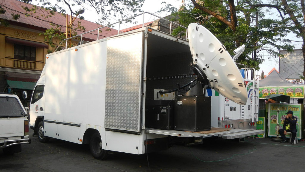 The photo shows a similar satellite truck that was stolen, but does not belong to LBC.
