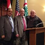 Walid Matta and Joe Sirghani pose with Lebanese Forces USA Coordinator Maurice Daaboul.