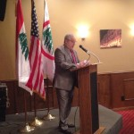 Lebanese Forces USA Coordinator Maurice Daaboul addresses the crowd of 100 invited guests.