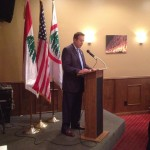 Lebanese Forces Detroit Chapter President Tony Malouf delivers remarks at a private dinner hosted in honor of Bishop A. Elias Zaidan and Lebanese Forces USA Coordinator Maurice Daaboul