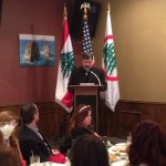 Chorbishop Alfred Badawi delivers remarks at a private dinner hosted in honor of Bishop A. Elias Zaidan and Lebanese Forces USA Coordinator Maurice Daaboul