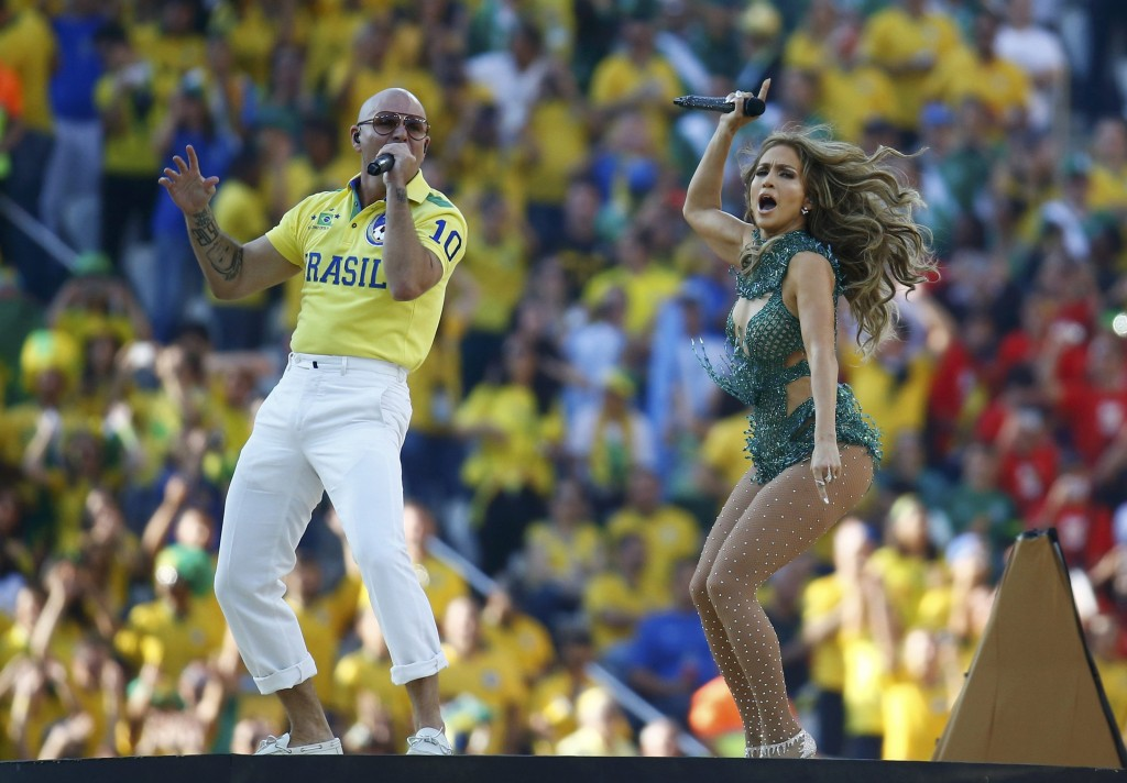 Singers Jennifer Lopez and Pitbull  perform during the opening ceremony of the 2014 World Cup at the Corinthians arena in Sao Paulo