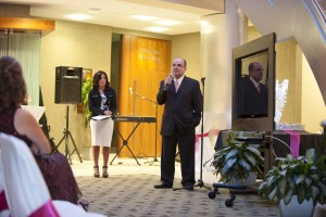 """PHOTO: Fata speaking at a """"Swan for Life"""" fundraising event."""