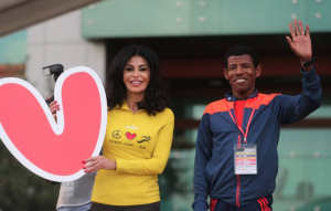 Beirut Marathon Founder May El-Khalil and Olympic Champion Haile Gebrselassie.
