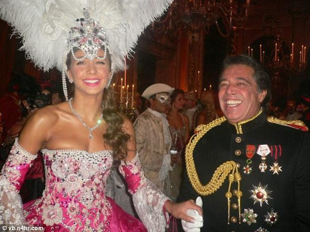 Loujain Adada, Lebanese supermodel and TV presenter, 25, and her billionaire husband Walid Juffali, 60, at their Venetian themed wedding in 2012. (Photo via The Daily Mail)