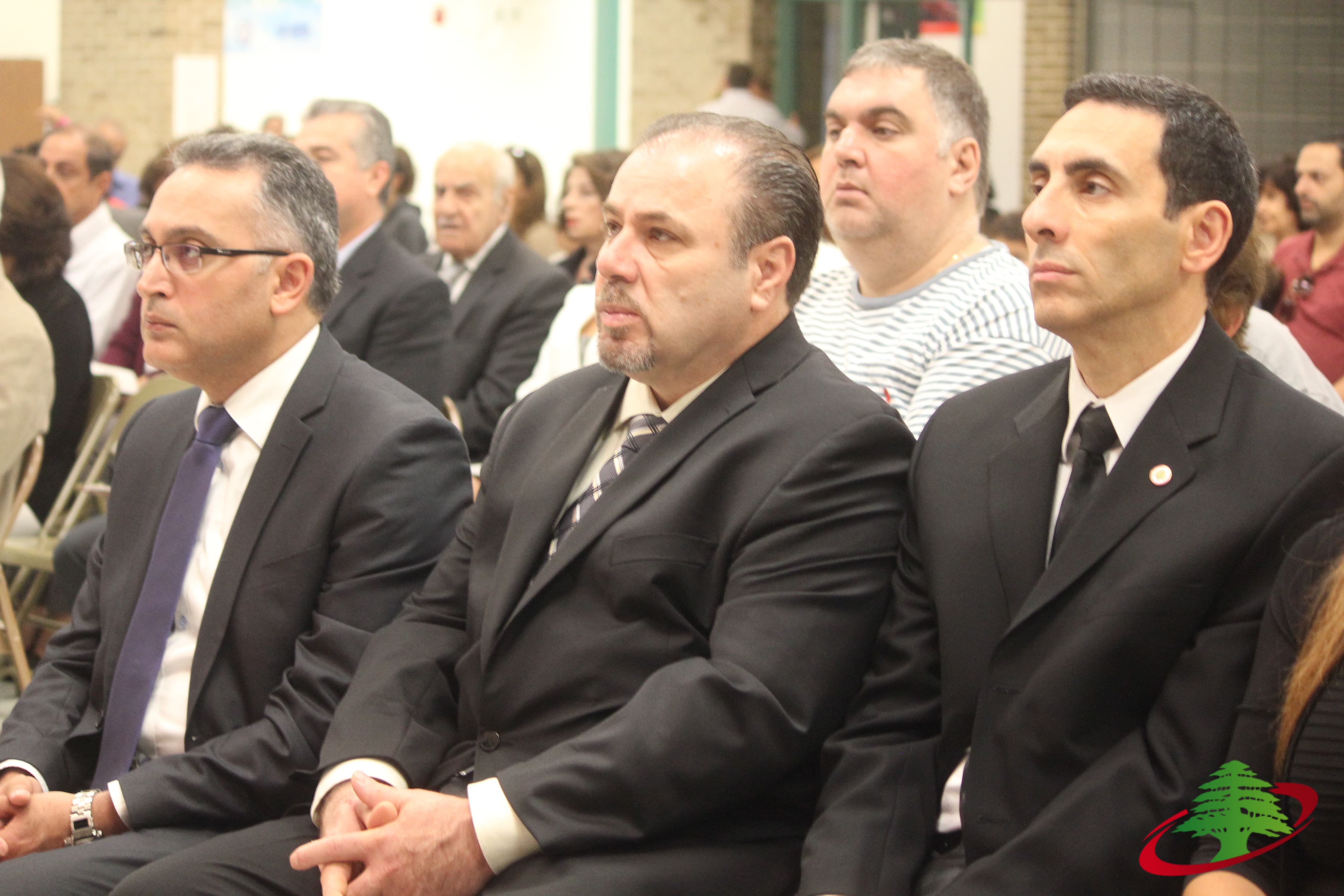 f7e112803 ... Lebanese Forces Michigan Chapter President John Moussawer (center) and Lebanese  Forces Secretary General in