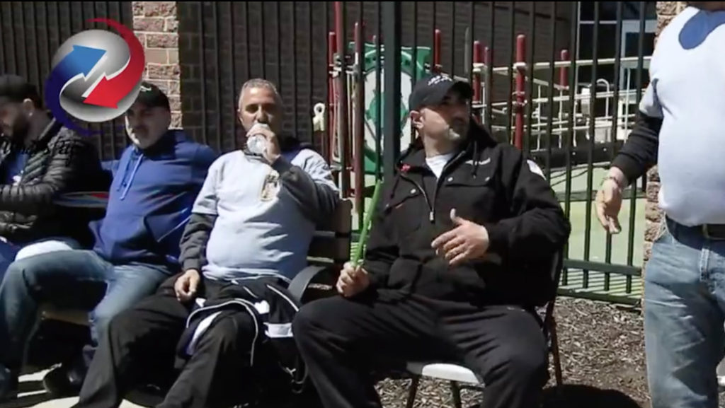 lebanese voters smoking hookah outside polling station