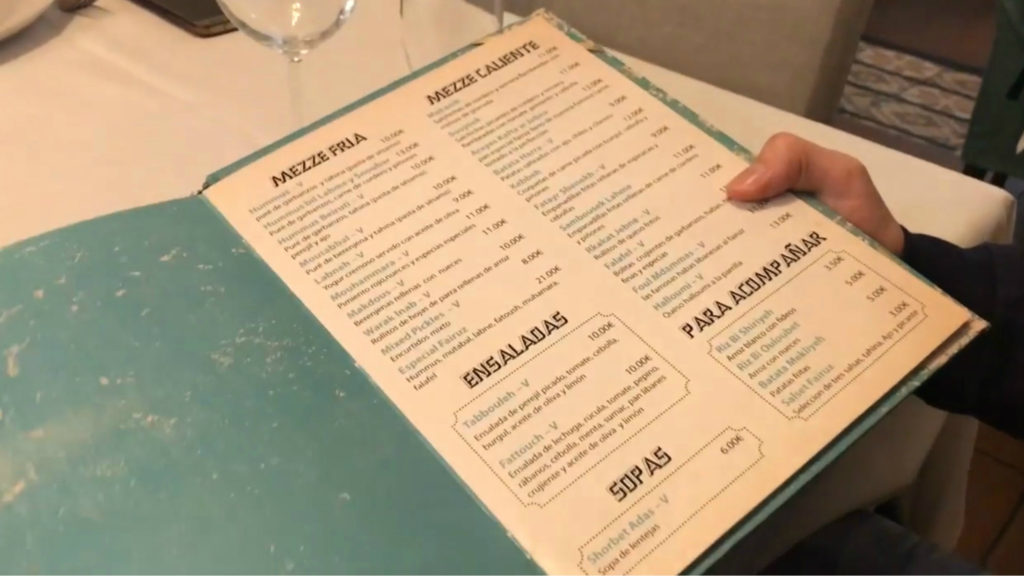 A photo of the menu at Restaurante Libanés Fairuz. (FB/Fairuz Restaurant)
