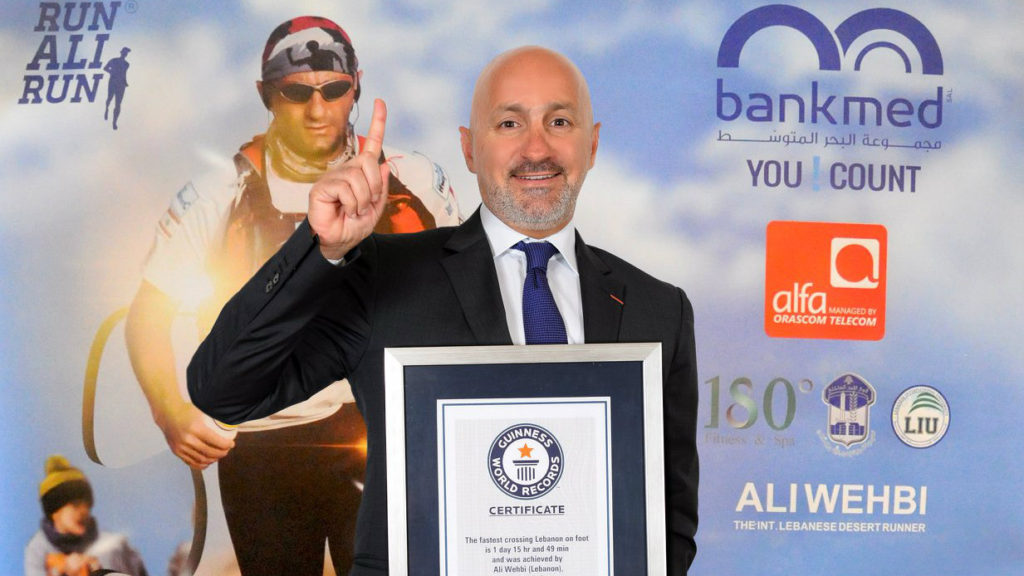 Ali Wehbi set a Guinness World Record for the fastest crossing Lebanon on foot. (Ali Wehbi/Facebook)