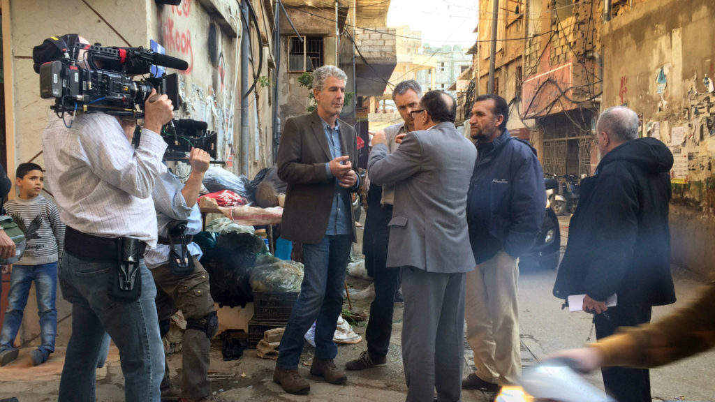 Anthony Bourdain and his crew shooting an episode in Beirut. (CNN)