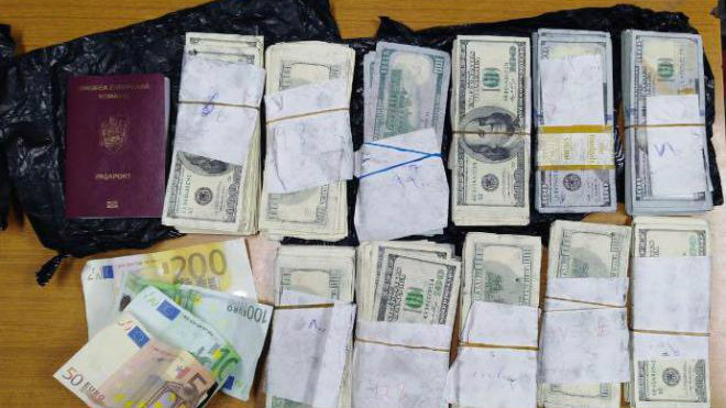 Counterfeit money seized at the Beirut airport. (Lebanese Internal Security Forces)