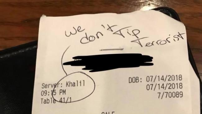 Khalil Cavil fake waiter racist receipt