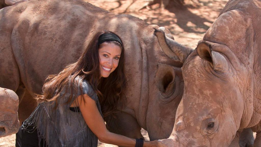 Shannon Elizabeth with Rhinos
