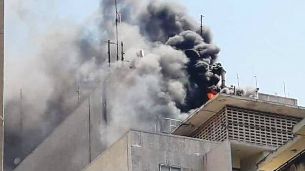 A fire was extinguished Tuesday at the American University of Beirut Medical Center. (Lebanese National News Agency)