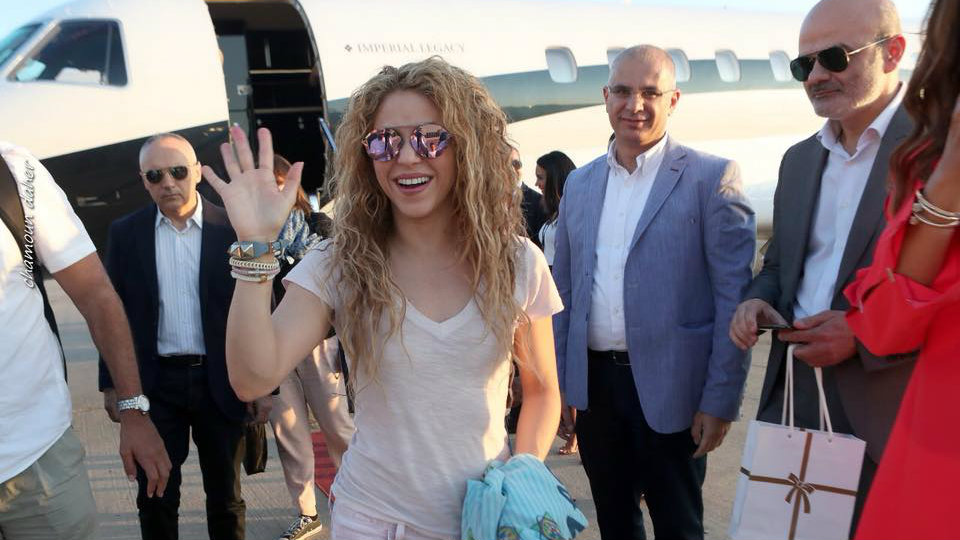 Shakira arrives at the Beirut International Festival. (Chamoun Daher/Cedars International Festival Facebook)