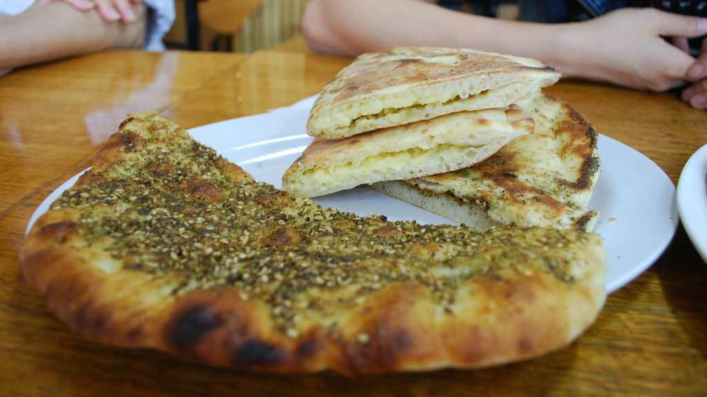 The zataar and cheese manousheh is a staple of Lebanese breakfast. (File photo)