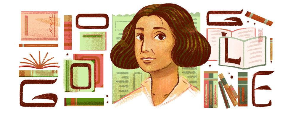 Google Doodle celebrates the life of Lebanese feminist and author Anbara Salam Khalidi. (Google)