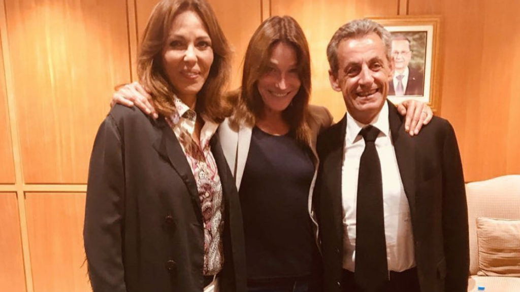 The Beiteddine Art Festival posted a photo on Instagram showing former French President Nicolas Sarkozy attending the concert in Lebanon. (Beiteddine Art Festival)