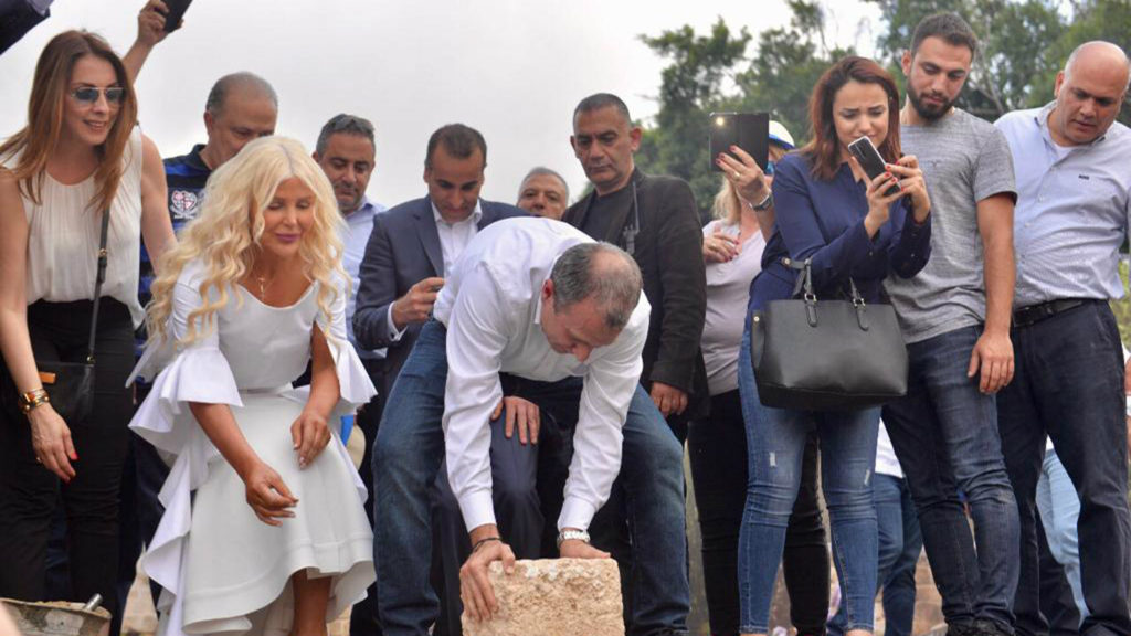 Attorney Joumana Kayrouz joins Minister Gebran Bassil to place the first stone in the groundbreaking for a new Youth Hub Center in Batroun, Lebanon. (Law Offices of Joumana Kayrouz)