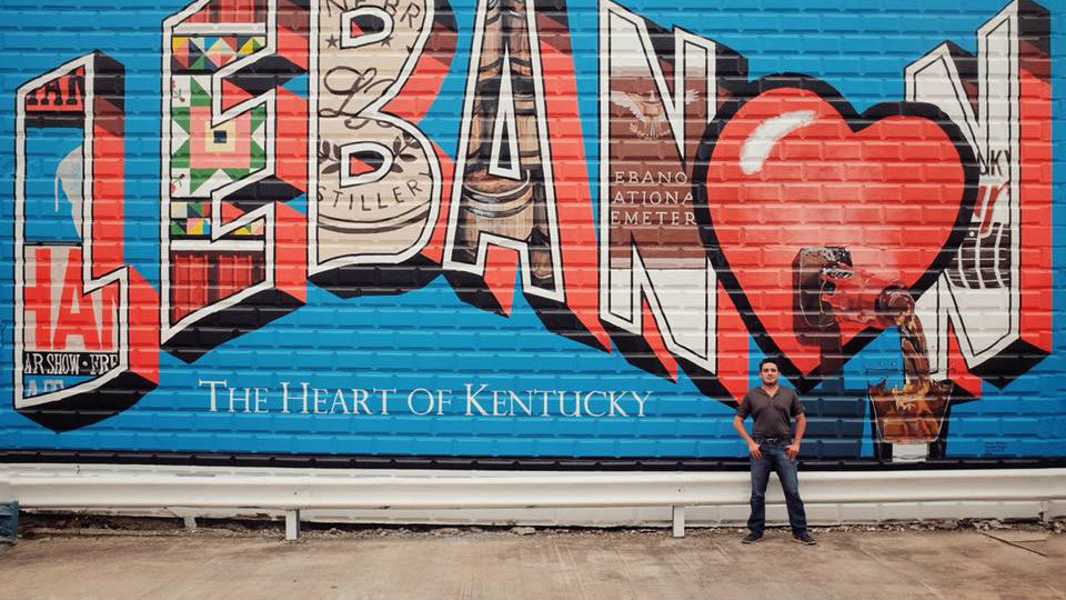 Fadi Boukaram visits towns around the U.S. named Lebanon. He posted a Facebook photo in Lebanon, Kentucky. (Facebook/Fadi Boukaram)