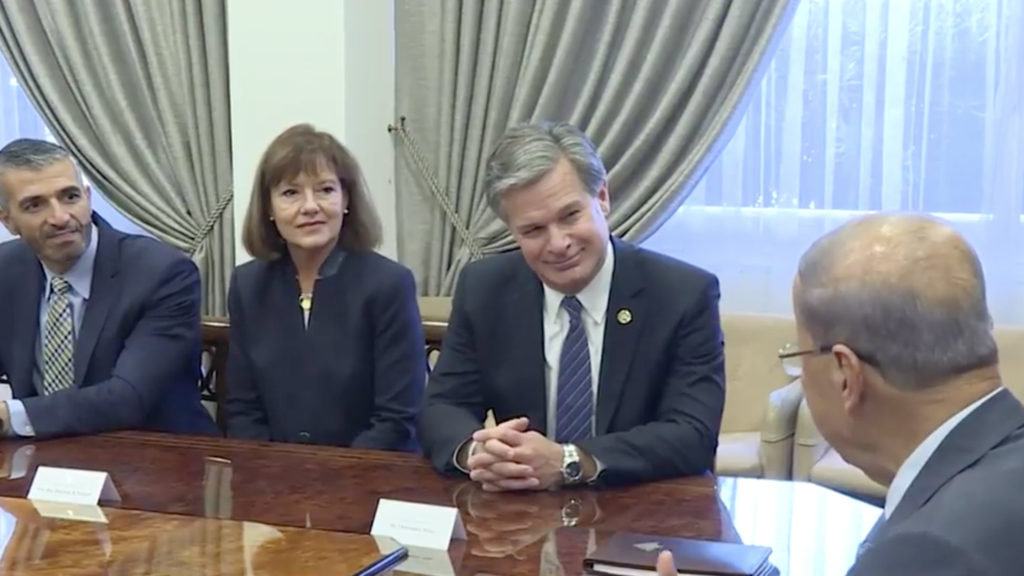FBI Director Christopher Wray visited with Lebanon's President Michel Aoun at the presidential palace in Baabda. (Lebanese National News Agency)