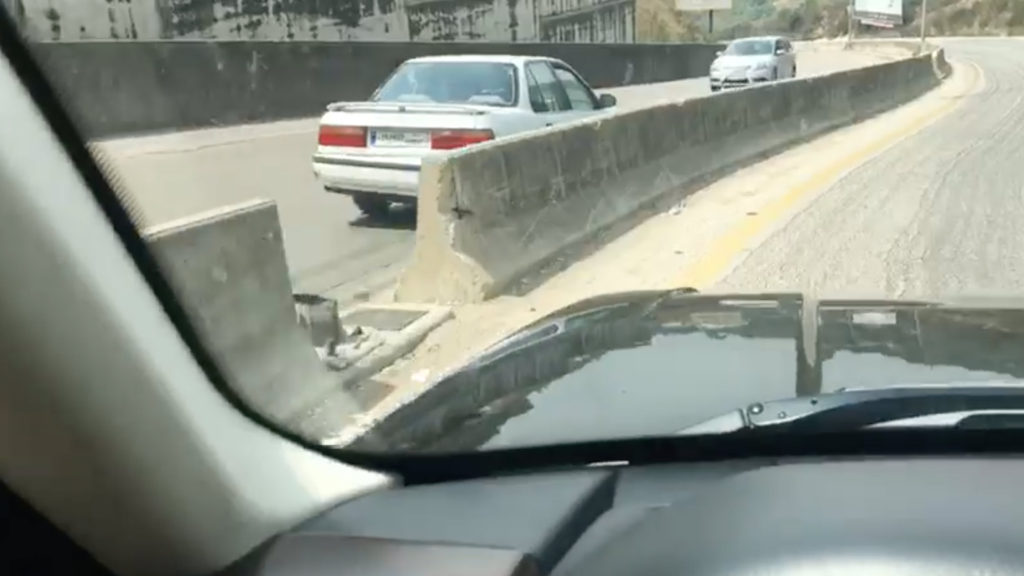 A viral video circulating on social media appears to show a wrong-way driver in Lebanon. (Facebook/Screen grab)