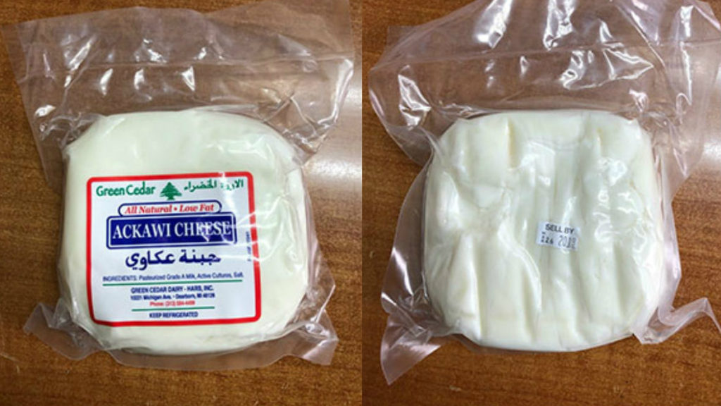 """The recall affects Green Cedar Dairy Ackawi Cheese bearing a """"sell by"""" date of March 26, 2019 or later, according to the FDA. (FDA provided photos)"""