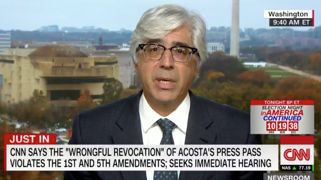 Lebanese American CNN lawyer Ted Boutrous appears on CNN to talk about the case involving Jim Acosta's press credentials. (CNN screen grab)