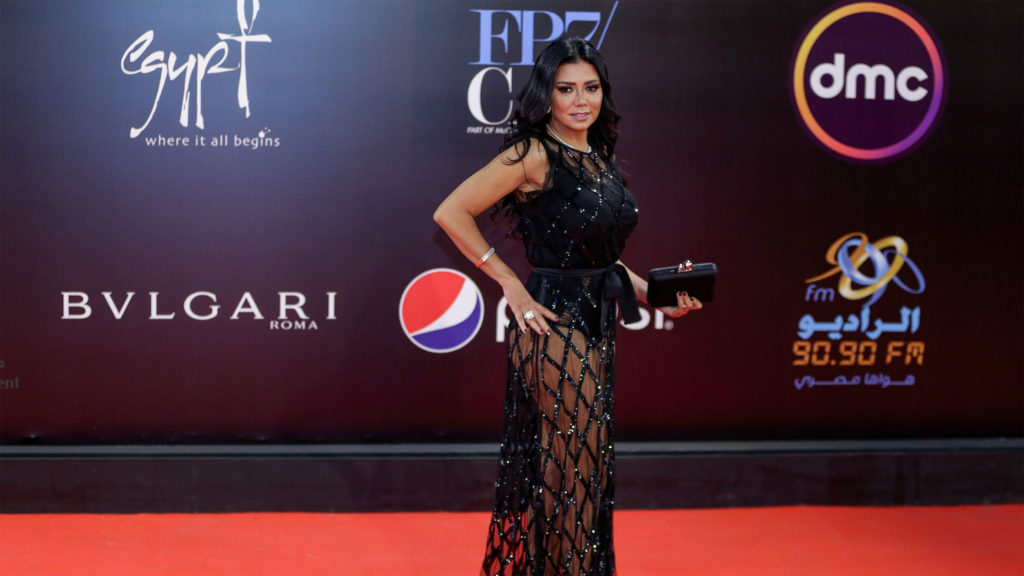 This lacy, black dress is at the center of a criminal case in Egypt involving actress Rania Youssef. (Facebook/Cairo International Film Festival)